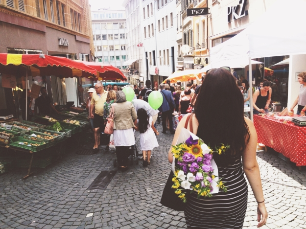 Saturday morning at the open-air market in downtown Lausanne